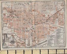 1925 GERMAN MAP ~ KARLSRUHE CITY PLAN HOSPITAL STATIONS CHURCHES POST GYM etc