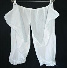 Antique Victorian Cotton Pantaloons Bloomers Edwardian Lace Embroider Crochet L