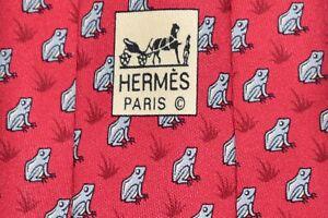 """Authentic Hermes Paris 5115 HA Red Men's Neck Tie W: 3 3/4"""" L: 63"""" """"TOADS"""""""