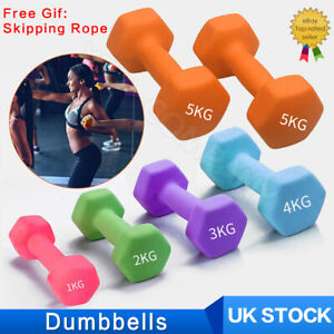 1x PairNeoprene Dumbbells Weights Home Gym Fitness Aerobic Exercise Solid Iron