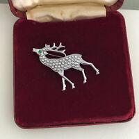Vintage Brooch Pin Reindeer Deer Stag Christmas silvertone