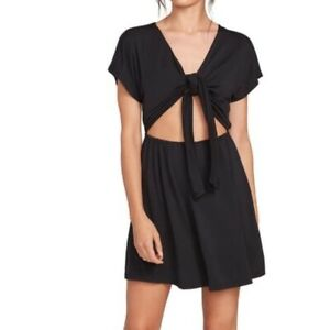 Volcom PacSun Women's Black Coco Ho Tie-Front Mini Dress Size Medium New