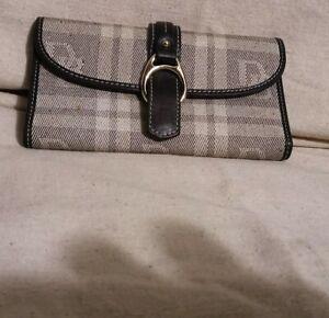 Dooney & Bourke Black Signature Herringbone Canvas Leather Buckle Snap Wallet