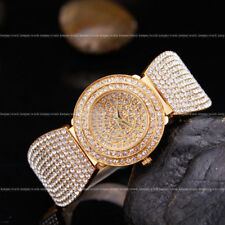 AOYI 18k Golden Plated Diamond Case Womens Ladies Bracelet Wrist Watches Quartz