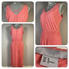 H&M Vintage Inspired Salmon Pink Pleated Blouson Dress Size Medium Xmas Party
