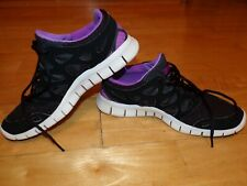 NIKE RUNNING Women Black Purple FREE RUN 2 Shoes FIT SOLE Size 9 UK 6.5 EUR 40.5