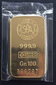 Rare Argor S.A Chiasso(Suisse) 100g 999.9 Gold bullion Bar  COA Great Gift