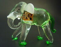 Glass ELEPHANT, Tinted Green Glass Animal, Blown Glass Ornament, Glass Figure