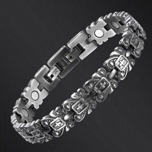 Silver Titanium Retro Medical Magnets Bracelet Cross Crucifix Adjustable Length