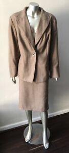 Tweed Wool 2 piece Vintage Herringbone Jacket Career Work skirt brown suit 18W