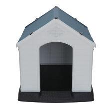 Plastic Dog House Waterproof Ventilate Pet Kennel W/Air Vents & Elevated Floor