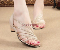 Casual Womens Shiny Ankle Strap Sandals Flip Flops Wedges  Low Heel Beach Shoes