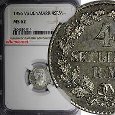 Denmark Frederik VII Silver 1856 VS 4 Skilling Rigsmont NGC MS62 KM# 758.2