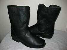 Toe Warmers #T05935 Black Leather Shearling Winter Boots Shoes Size 10M, Fit 9M