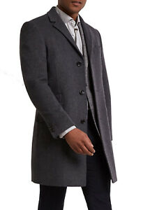 Moss Bros Tailored Fit Charcoal Black Epsom Overcoat Wool Blend -Size 38, 40, 42