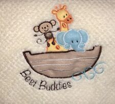 Little Beginnings Best Buddies Cream Baby Blanket Ark Giraffe Monkey Plush Lovey