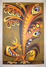 Claude BLEYNIE Gouache sur papier Projet de carton de tapisserie coq Lurçat