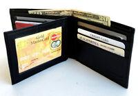 Black Men's Genuine Leather Bifold Wallet Center Flap 10 Cards ID Holder