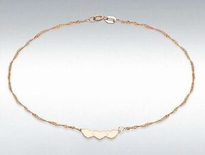 """9ct Yellow Gold 3 Heart Twist Curb Ankle Chain 9"""""""
