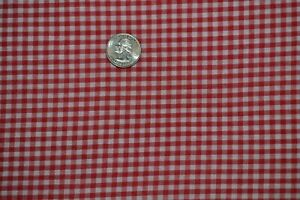 """Cotton apparel fabric 45"""" x 3.8 yards, red & white gingham check"""