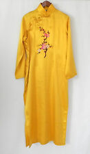 Splendid China Lounge Dress 100% Silk Maxi Mandarin Style Yellow Slits Size L/XL