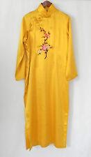 Splendid China Lounge Dress 100% Silk Maxi Mandarin Style Yellow Slits Size L/XL