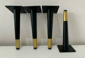 BLACK and Gold METAL ANGLED LEGS FURNITURE FEET SOFA-BEDS-CHAIRS STOOLS