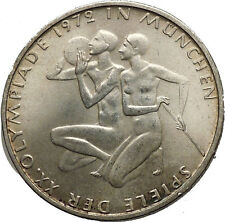 1972 Germany Munich Summer Olympics XX ATHLETES on 10 Mark Silver Coin i52431