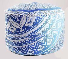 "Home Decor 22""Inch Pouf Ombre Mandala Floral Ottoman Round Cover Handmade Cotton"
