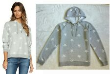 """ZOE KARSSEN SOLD OUT!!! FEMME """"STARS ALL OVER"""" SUPER SOFT GRAY HOODIE TOP $145 M"""