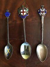 3 Andenkenlöffel_Emaille_Silber_London,Innsbruck_Schweden