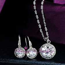 18K White GOLD GF Womens NECKLACE EARRINGS SET With SWAROVSKI DIAMOND L348-S