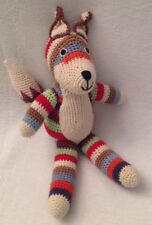 "ANNE-CLAIRE PETIT Rainbow FOX Crocheted Cotton Stuffed Animal $55 14"" Amsterdam"