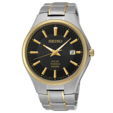 Seiko Solar Titanium Black Dial Two Tone Men's Watch 100M  40mm (SNE382)