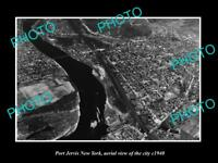 OLD LARGE HISTORIC PHOTO OF PORT JERVIS NEW YORK, AERIAL VIEW OF TOWN c1940 1