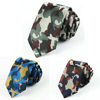 Men Fashion Skinny Camouflage Army Green Neckties Camo Military Polyester Ties