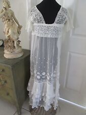 ANTIQUE EDWARDIAN FRENCH NET & LACE THREE TIER FLOUNCE  TEA/ WEDDING DRESS