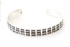 Stunning 925 Sterling Silver Open Cuff Bangle Bracelet For Men Grid Design