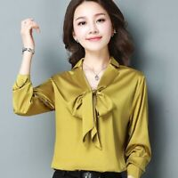 Lady Faux Silk Bow Shirt Satin Top Long Sleeve Ribbon Retro V Neck Blouse Soft
