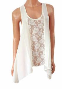 Women's INTERNACIONALE A-line Sleeveless Ivory Blouse Top Tunic UK10 NEW