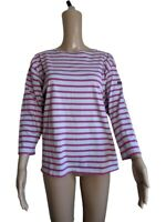 Saint James Womens Long Sleeved Pink Gray Striped Top Made In France Size Medium