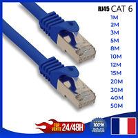 Cable reseau ethernet RJ45 CAT 6 Bleu ordinateur console jeux-vidéo 1,2,3,10,15m