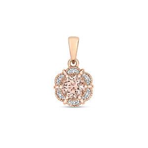 Morganite and Diamond Round Pendant Rose Gold Necklace Hallmarked