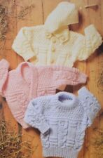ARAN Knitting Pattern Baby Children Copy  SWEATER Cardigan with/without Hood