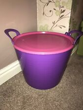 26L PURPLE FLEXI TUB WITH PINK LID, STORAGE BUCKET TRUG, FLEXIBLE, CONTAINER