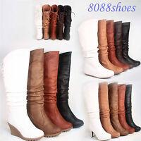 Women's Flat Wedge High Heel Lace Zipper Mid -Calf Knee High Boot Shoe Size 5-10
