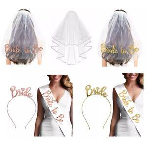 Bride To Be Hen Veil Sash Tiara Hens Night Bridal Shower Kitchen Tea Accessories