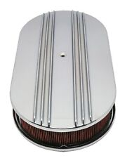 """CHEVY/FORD/MOPAR ALUMINUM 15"""" OVAL AIR CLEANER PAPER FILTER PARTIAL FINNED - CH"""