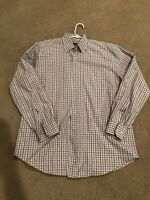 Hickey Freeman Mens Long Sleeve Button Down Shirt Size Large L Purple & Green