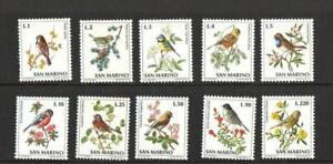 SAN MARINO SG938-947  BIRDS 1972 MNH